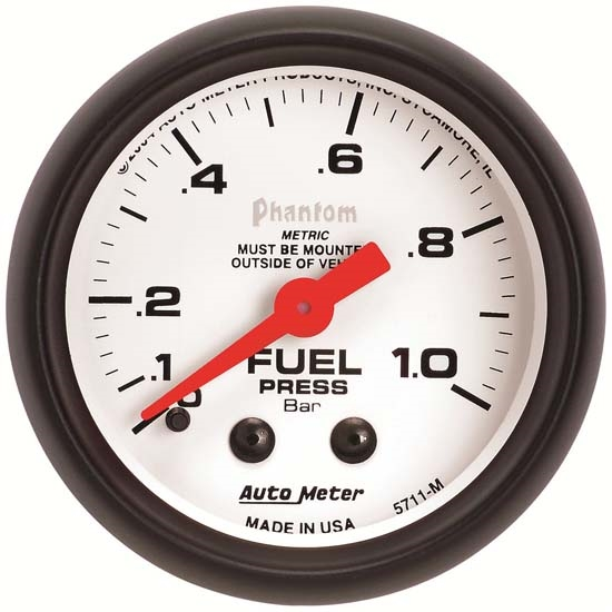 Auto Meter 5711-M Phantom Mechanical Fuel Pressure Gauge, 2-1/16 Inch