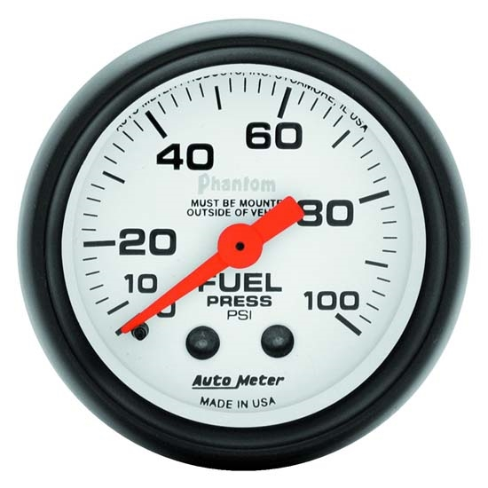 Auto Meter 5712 Phantom Mechanical Fuel Pressure Gauge, 2-1/16 Inch
