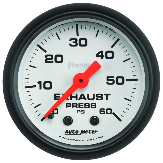 Auto Meter 5725 Phantom Mechanical Exhaust Pressure Gauge, 60 PSI