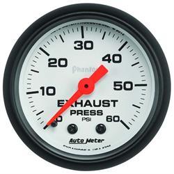 Auto Meter 5725 Phantom Mechanical Exhaust Pressure Gauge, 60 PSI