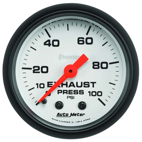 Auto Meter 5726 Phantom Mechanical Exhaust Pressure Gauge, 100 PSI