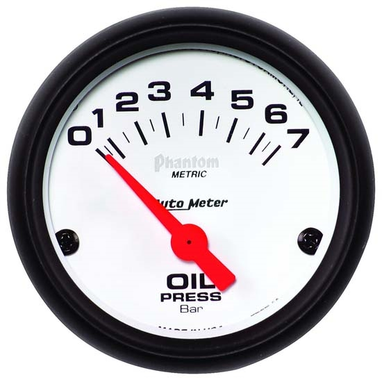 Auto Meter 5727-M Phantom Air-Core Electric Oil Pressure Gauge, 2-5/8