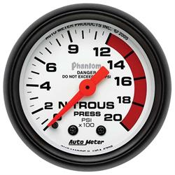 Auto Meter 5728 Phantom Mechanical Nitrous Pressure Gauge, 2-1/16 Inch