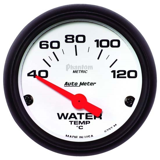 Auto Meter 5737-M Phantom Air-Core Water Temperature Gauge, 2-1/16 In.
