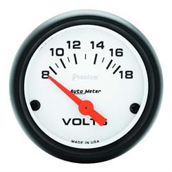 Auto Meter 5791 Phantom Air-Core Electric Voltmeter Gauge, 2-1/16 Inch