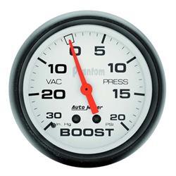 Auto Meter 5801 Phantom Mechanical Boost/Vacuum Gauge, 2-5/8 Inch