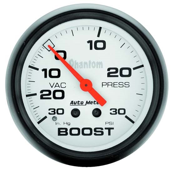 Auto Meter 5803 Phantom Mechanical Boost/Vacuum Gauge, 2-5/8 Inch