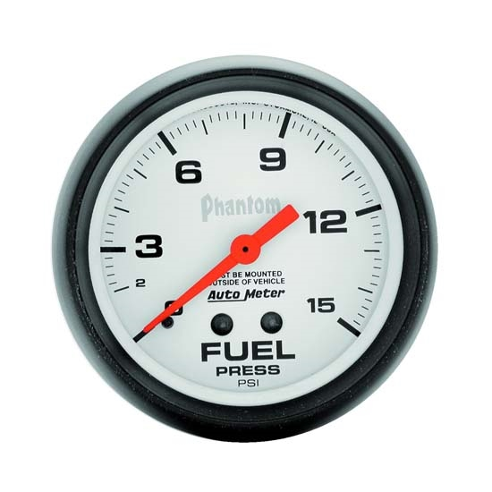 Auto Meter 5810 Phantom Mechanical Fuel Pressure Gauge, 15 PSI, 2-5/8