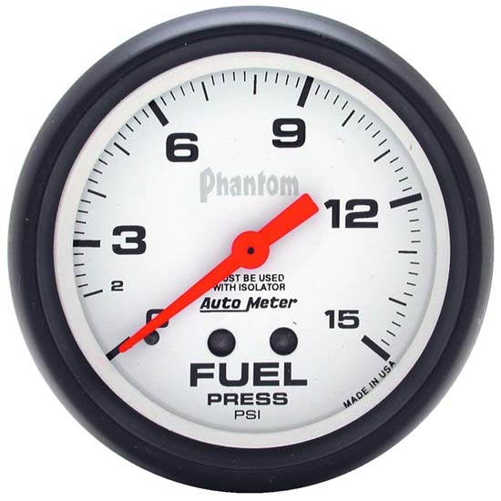 Auto Meter 5813 Phantom Mechanical Fuel Pressure w/ Isolator Gauge