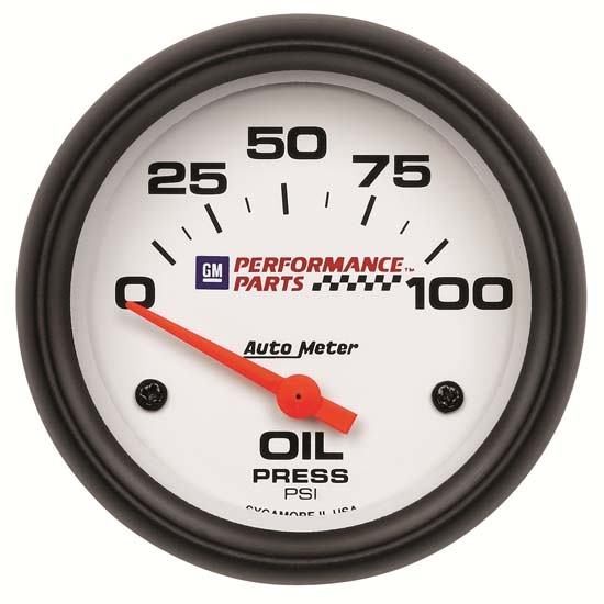 Auto Meter 5827-00407 GM White Air-Core Oil Pressure Gauge