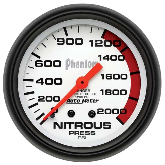 Auto Meter 5828 Phantom Mechanical Nitrous Pressure Gauge, 2-5/8 Inch