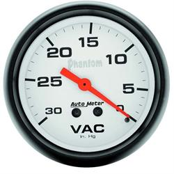Auto Meter 5884 Phantom Mechanical Vacuum Gauge, 2-5/8 Inch