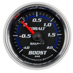Auto Meter 6103-M2 Cobalt Boost/Vacuum Gauge, 2-1/16, -1-+2 BAR, Flat