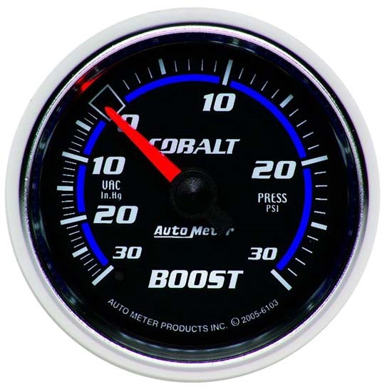 Auto Meter 6103 Cobalt Mechanical Boost/Vacuum Gauge, 2-1/16 Inch