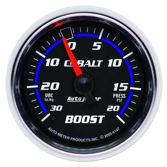 Auto Meter 6107 Cobalt Mechanical Boost/Vacuum Gauge, 2-1/16 Inch