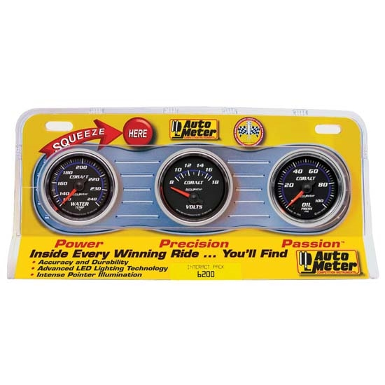 Auto Meter 6200 Cobalt Interact Pack Gauge Set, Oil/Water/Volt