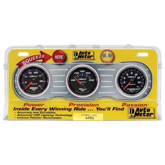 Auto Meter 6201 Cobalt Interact Pack Diesel Gauge Set, EGT/Boost/Temp
