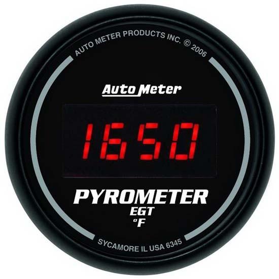 universal fit, black, black, electric gauge type, 0-2000 �f gauge range,  includes wire harness