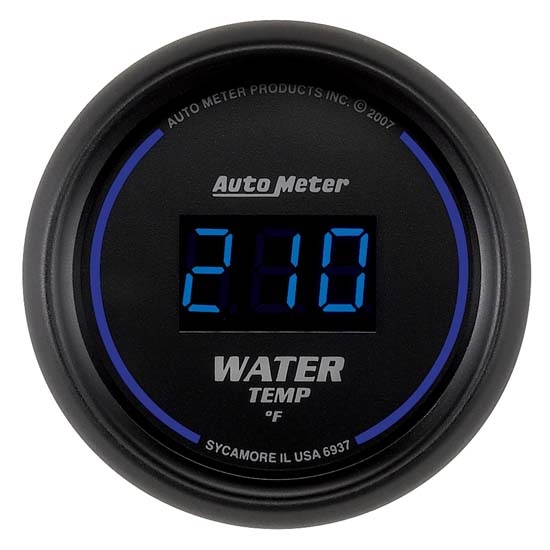 Auto Meter 6937 Cobalt Digital Water Temperature Gauge, 2-1/16 Inch
