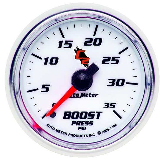 Auto Meter 7104 C2 Mechanical Boost Gauge, 2-1/16 Inch, 0-35 PSI
