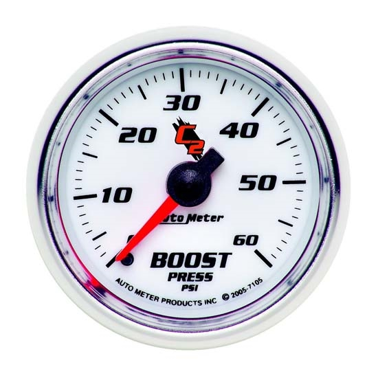 Auto Meter 7105 C2 Mechanical Boost Gauge, 2-1/16 Inch, 0-60 PSI