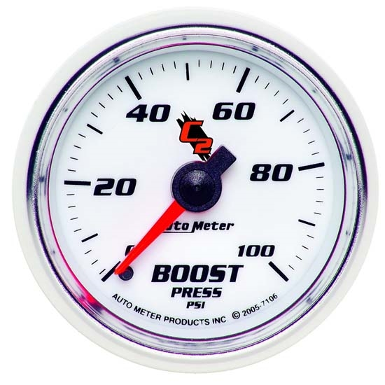AutoMeter 7106 C2 Mechanical Boost Gauge, 2-1/16 Inch, 0-100 PSI