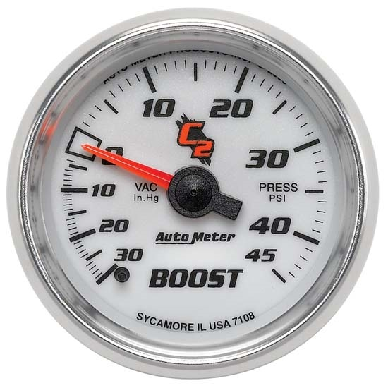 Auto Meter 7108 C2 Mechanical Boost/Vacuum Gauge, 2-1/16 Inch