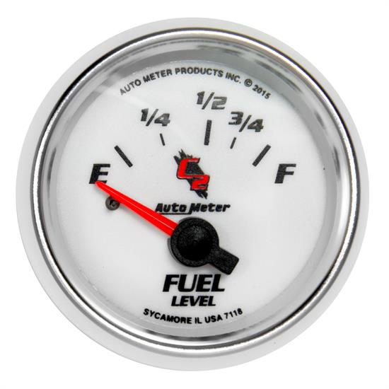 Auto Meter 7118 C2 Fuel Level Gauge, 2-1/16, 16/158 Ohm, Flat Lens