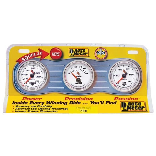 Auto Meter 7200 C2 Interact Pack Mechanical Gauge Set, Oil/Water/Volt