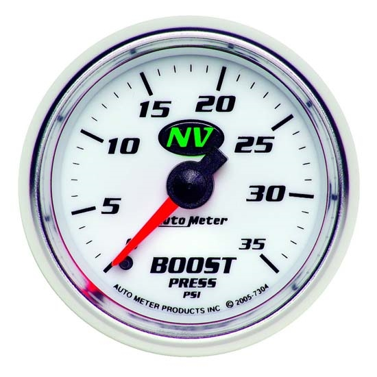 Auto Meter 7304 NV Mechanical Boost Gauge, 35 PSI, 2-1/16 Inch