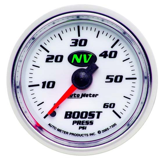 Auto Meter 7305 NV Mechanical Boost Gauge, 60 PSI, 2-1/16 Inch