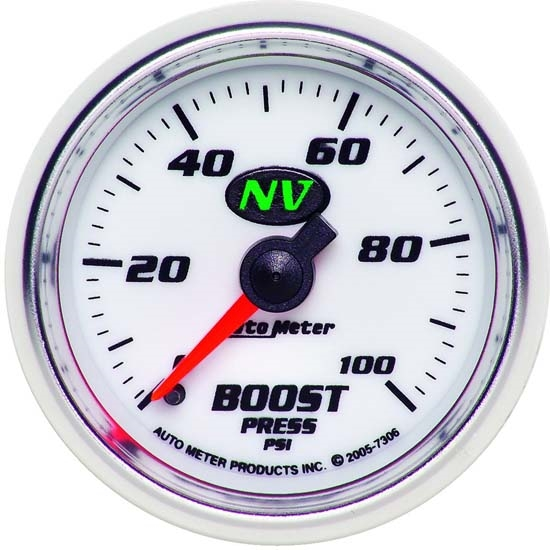Auto Meter 7306 NV Mechanical Boost Gauge, 100 PSI, 2-1/16 Inch