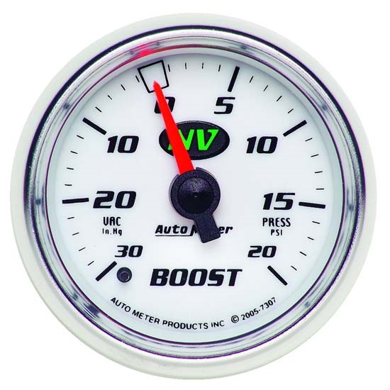 Auto Meter 7307 NV Mechanical Boost/Vacuum Gauge, 2-1/16 Inch