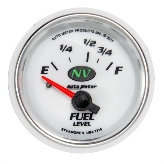 Auto Meter 7318 NV Fuel Level Gauge, 2-1/16, 16/158 Ohm, Flat Lens