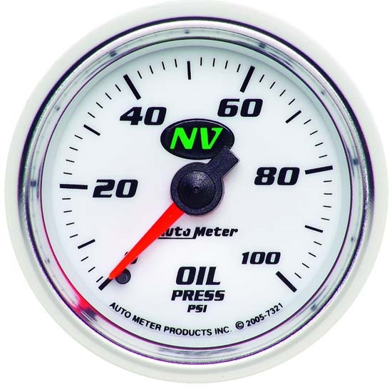 Auto Meter 7321 NV Mechanical Oil Pressure Gauge, 2-1/16 Inch