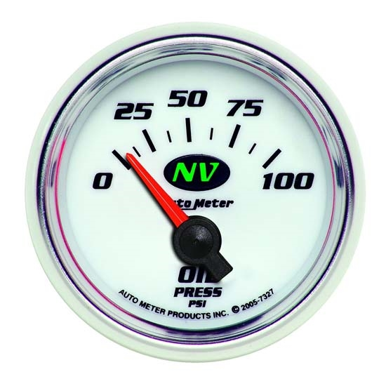 Auto Meter 7327 NV Air-Core Oil Pressure Gauge, 2-1/16 Inch