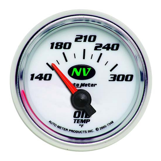 Auto Meter 7348 NV Air-Core Oil Temperature Gauge, 2-1/16 Inch
