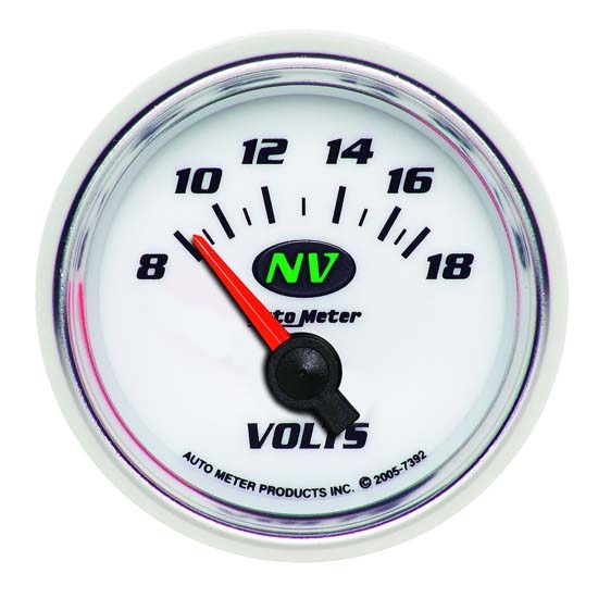 Auto Meter 7392 NV Air-Core Electric Voltmeter Gauge, 2-1/16 Inch