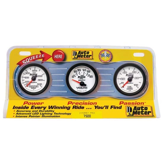 Auto Meter 7500 Phantom II Interact Pack Mechanical Gauge Set
