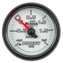 Auto Meter 7503-M2 Phantom II Boost/Vacuum Gauge, 2-1/16, -1-+2 BAR,