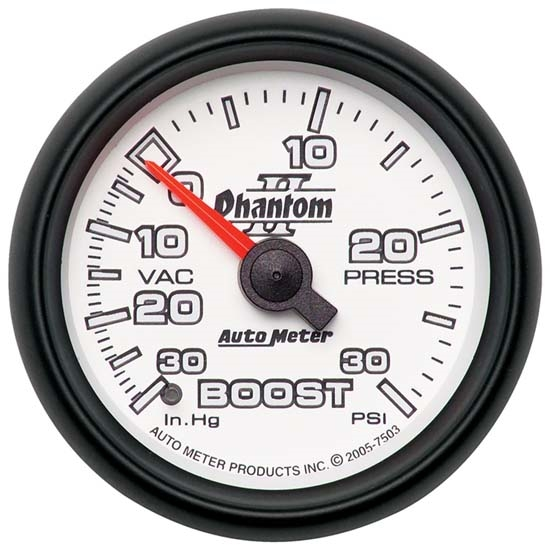 Auto Meter 7503 Phantom II Mechanical Boost/Vacuum Gauge, 2-1/16 Inch