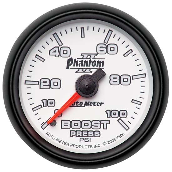Auto Meter 7506 Phantom II Mechanical Boost Gauge, 100 PSI, 2-1/16 In.