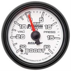 Auto Meter 7507 Phantom II Mechanical Boost/Vacuum Gauge, 2-1/16 Inch