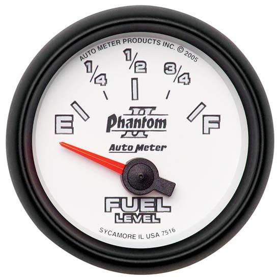 Auto Meter 7516 Phantom II Air-Core Fuel Level Gauge, 2-1/16 Inch