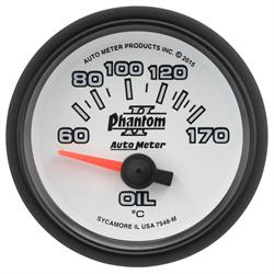 Auto Meter 7548-M Phantom II Oil Temp Gauge, 2-1/16, 60-170 Deg., Flat