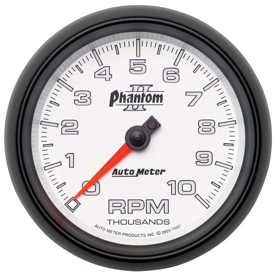 Auto Meter 7597 Phantom II Air-Core In-Dash Tachometer, 10k RPM, 3-3/8