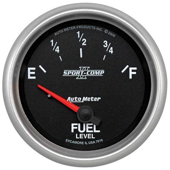 Auto Meter 7615 Sport-Comp II Air-Core Fuel Level Gauge, 2-5/8 Inch