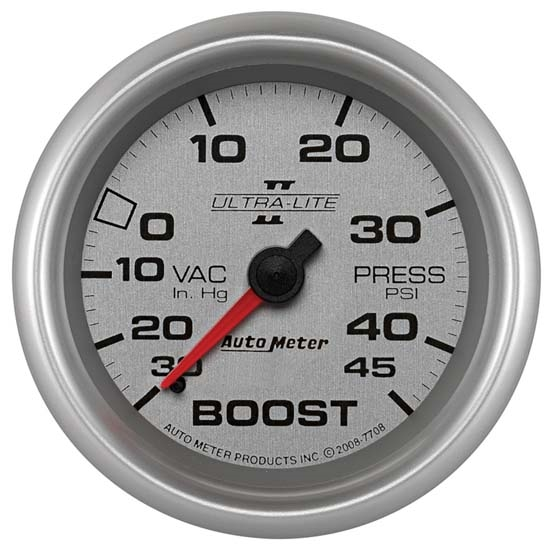Auto Meter 7708 Ultra-Lite II Mechanical Boost/Vacuum Gauge