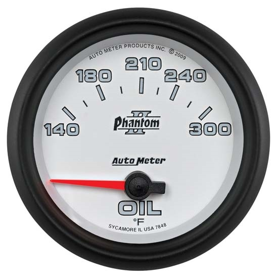 Auto Meter 7848 Phantom II Air-Core Oil Temperature Gauge, 2-5/8 Inch