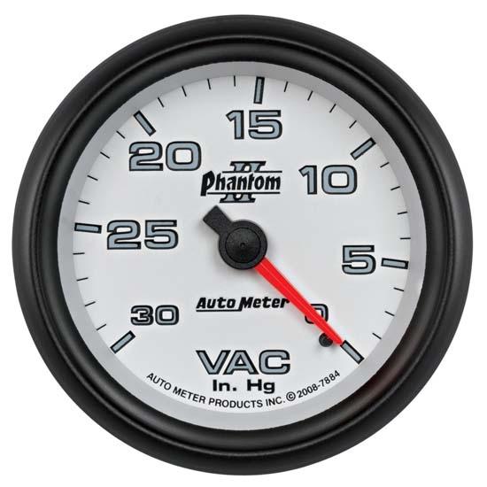 Hg Mechanical Vacuum Gauge Auto Meter 4484 Ultra-Lite 2-5//8 30 in
